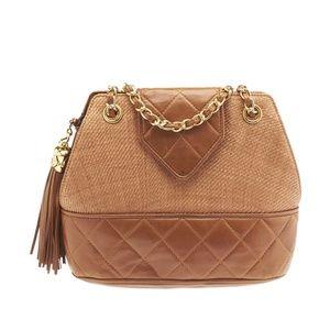 Vintage Chanel  Leather/Raffia Tassel Shoulder Bag